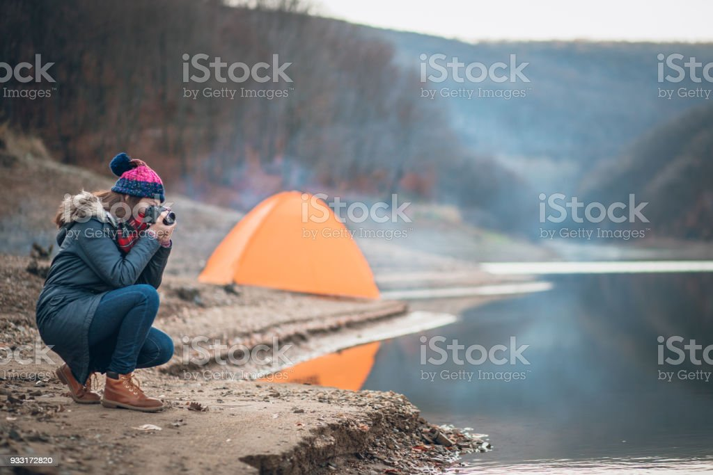 Alone At Camping With My Camera Stock Photo - Download Image