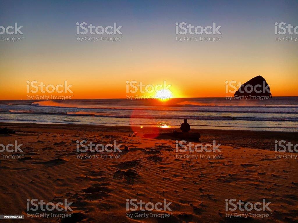 Alone at Sunset stock photo