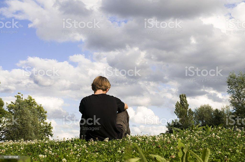 alone boy stock photo