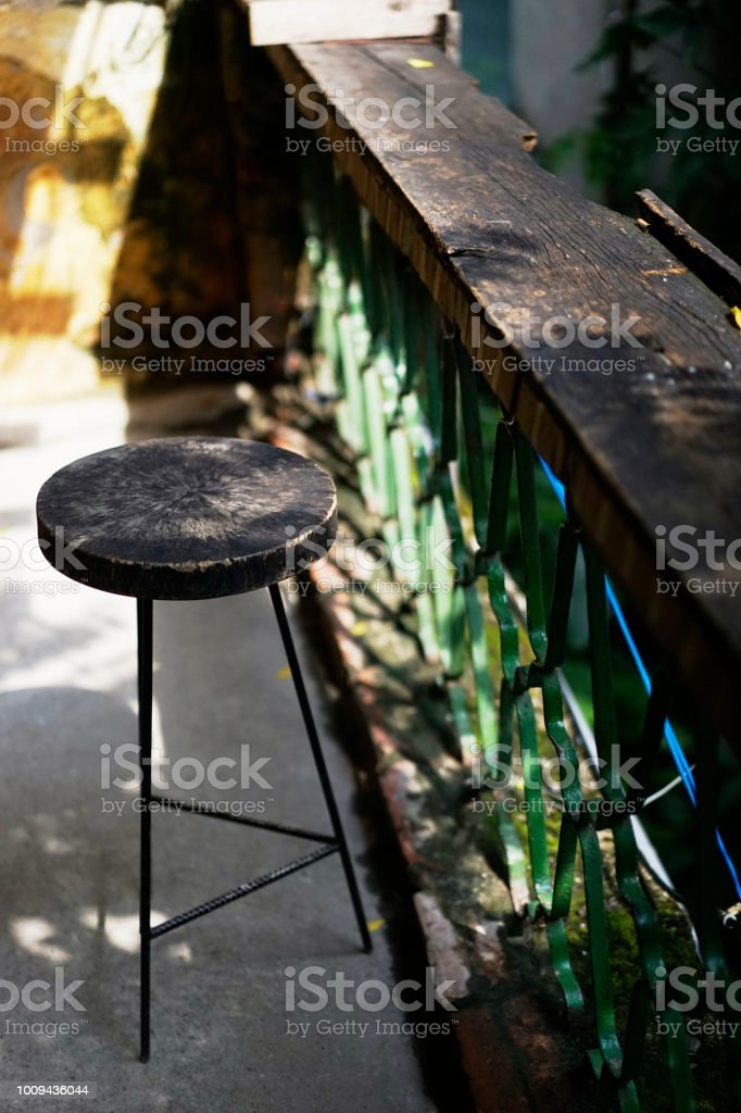 alone chair in banconie stock photo