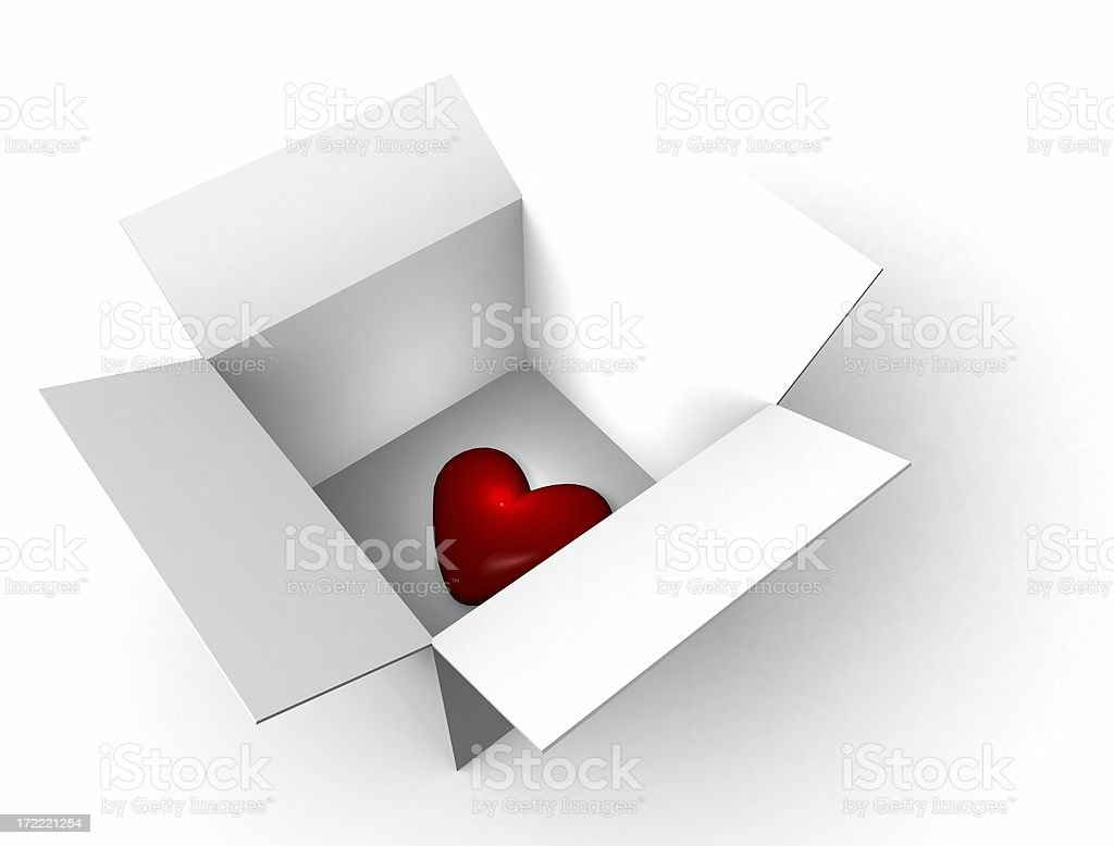 Alone Heart in White Box royalty-free stock photo