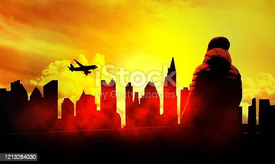 alone in a big city concept illustration