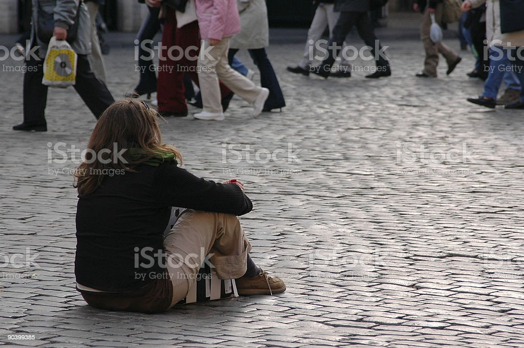 Alone in a Crowd royalty-free stock photo