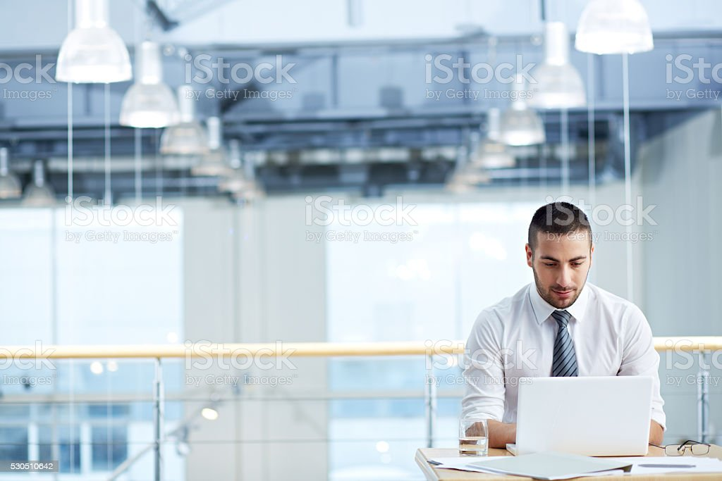 Alone in office stock photo