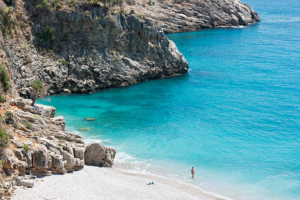 Alone in The Beach, Olympos, Antalya, Turkey stock photo