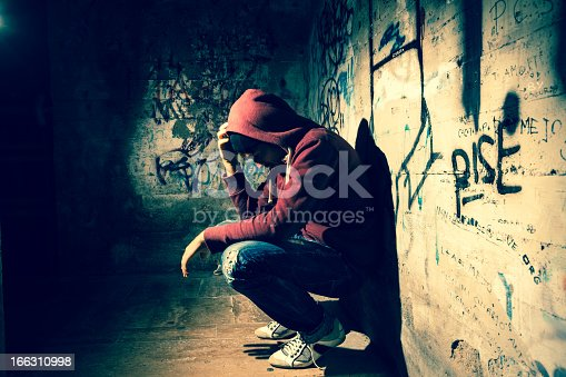 Man desperate and alone in the dark