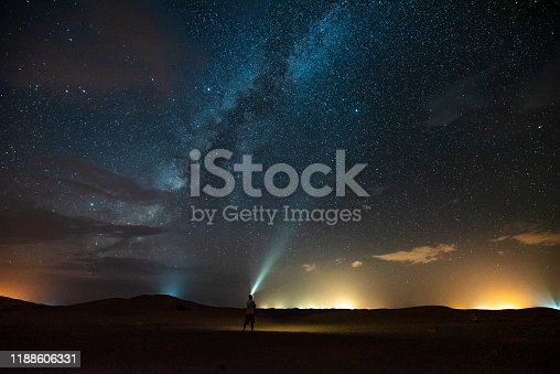 Alone in the Erg Chebbi desert pointing a light to the Milky Way, during a summer night with very few clouds. There is ony a part of the Milky Way since it was already set and on the other side there were lights arriving from the desert camps.