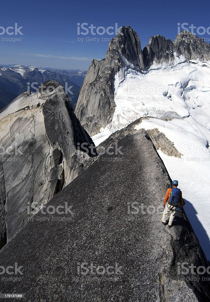 Alone in the mountains stock photo