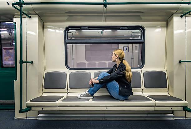 alone in the subway - järnvägsvagn tåg bildbanksfoton och bilder