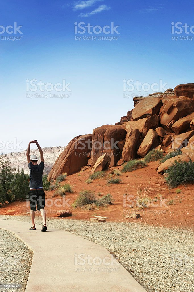 Alone male travels in outdoors royalty-free stock photo