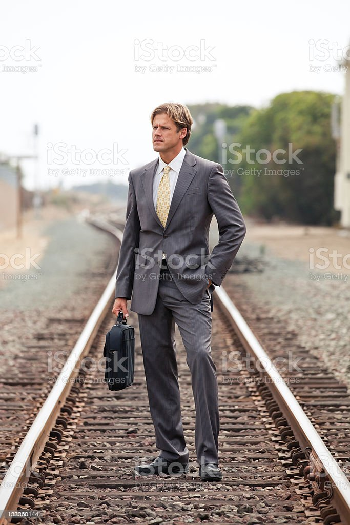 Alone on a business journey stock photo