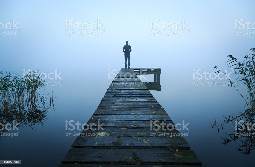Alone on a jetty stock photo