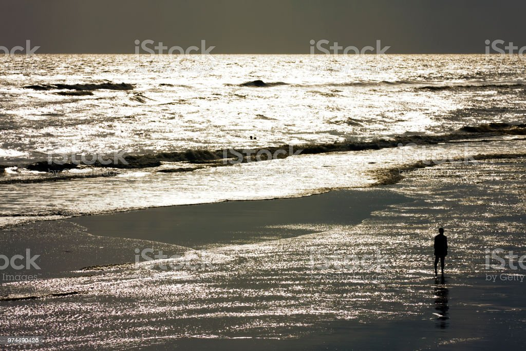 Alone on the beach stock photo