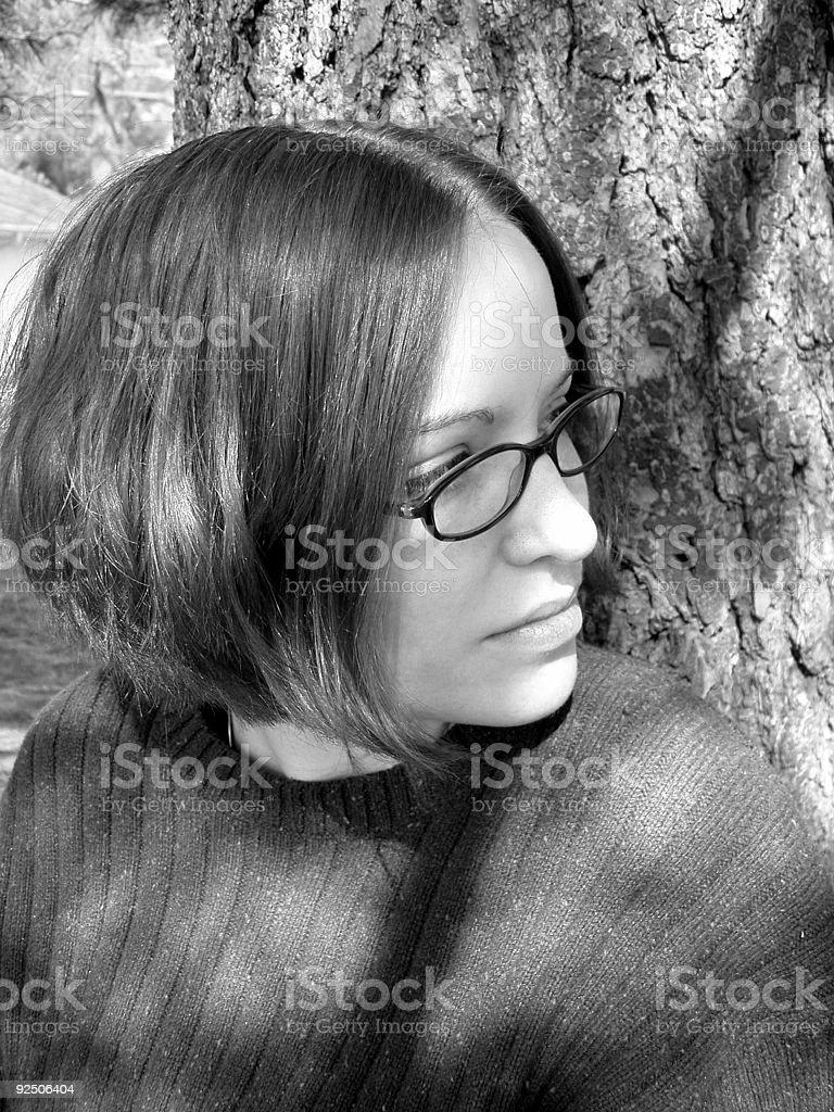 Alone & thinking at the Park - Black & White royalty-free stock photo