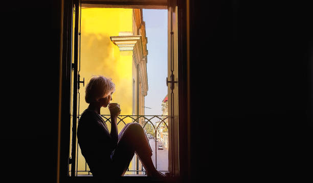 Alone Woman Silhouette stock photo