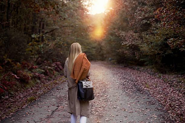 alone women in forest - byakkaya stok fotoğraflar ve resimler