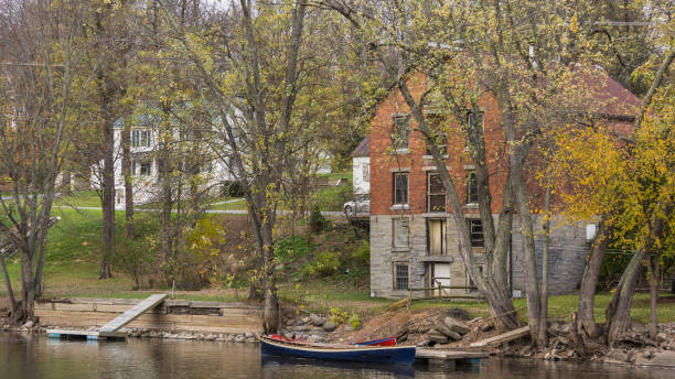 along river bank Vergennes stock photo