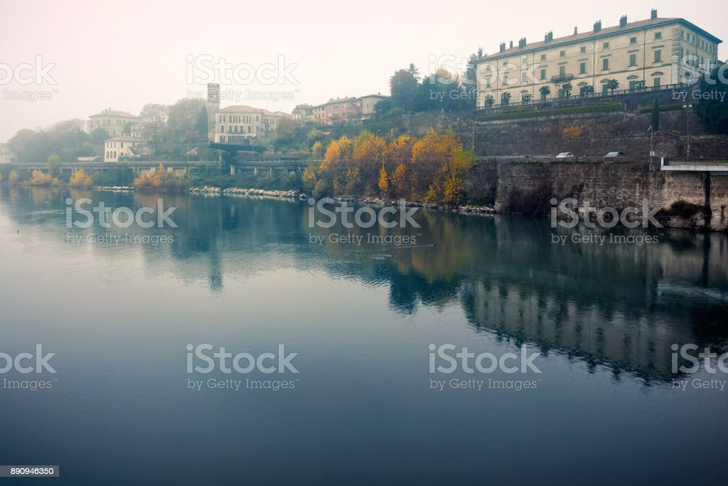 Along the Adda river, shot on foggy autumnal day at Vaprio d'Adda, Lombardy, Italy stock photo