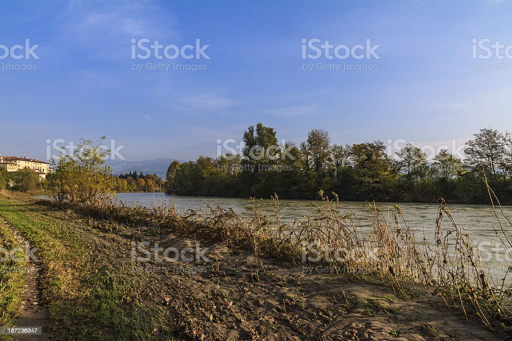 Along the Adige River, Verona, Italy royalty-free stock photo