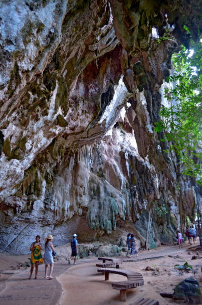 Along the footpath between East Railay beach and Phra Nang beach stock photo