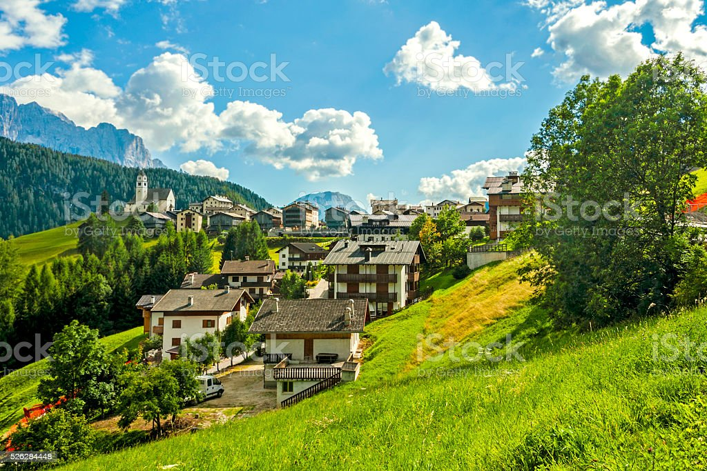 Along the Great Dolomite Road, Colle Santa Lucia stock photo
