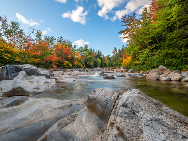 Along the Kancamagus Highway Landscape on The Kancamagus Highway, The Gorge white mountain national forest stock pictures, royalty-free photos & images