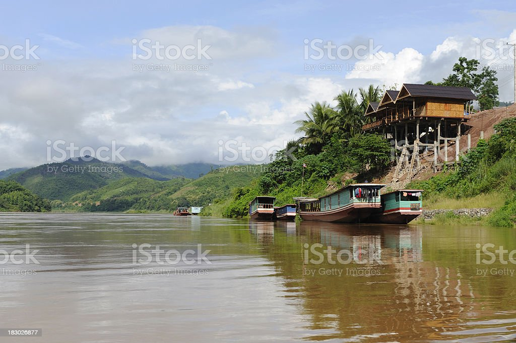 Along the Mekong River in Laos stock photo