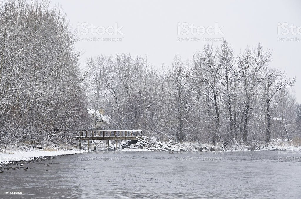 Along the River after a Fresh Snowfall stock photo