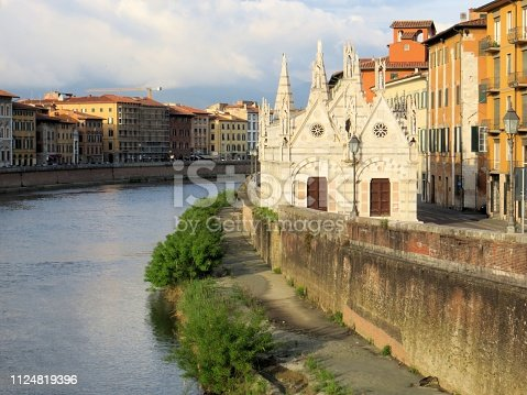 Along a river in Pisa Italy