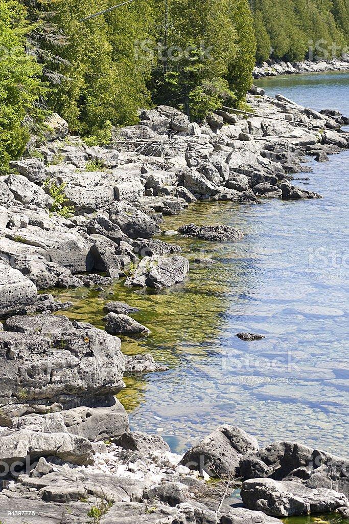 Along the rocky coast of Georgian Bay royalty-free stock photo
