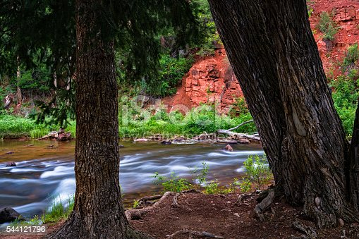 Along the Shore of the Frying Pan River - Scenic red-rock canyon landscape near Aspen and Basalt, Colorado USA.