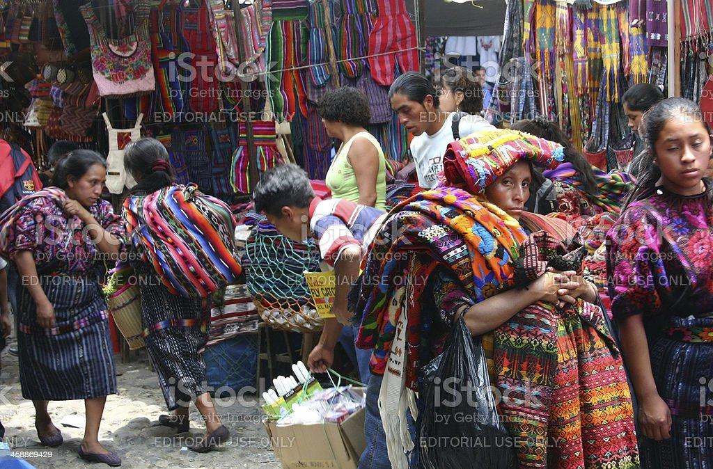 Along the Streets of Chichicastenango stock photo