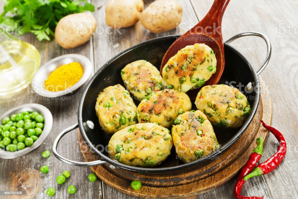 Aloo tikki. Potato cutlets stock photo