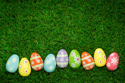 Alot of Colorful Speckled Easter Egg on Green Grass
