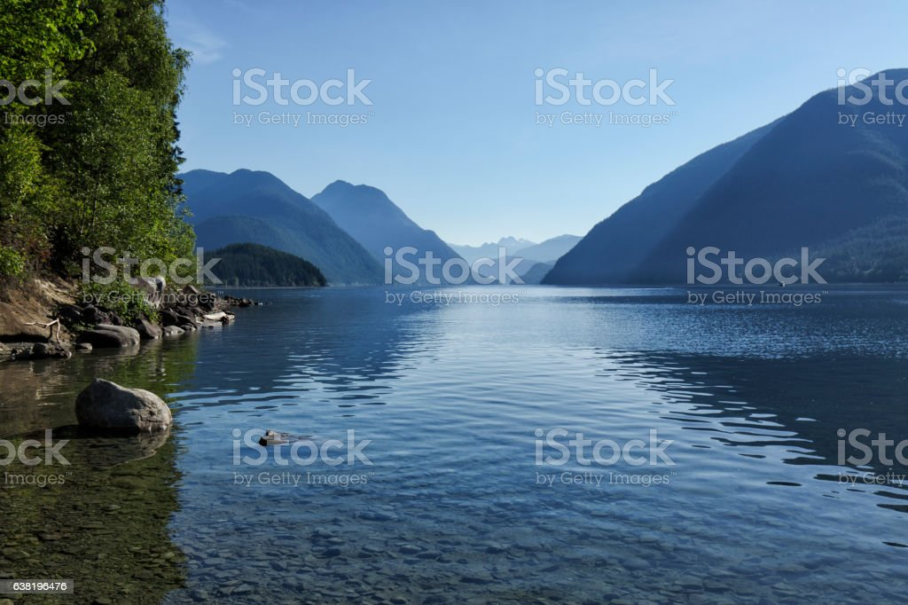 Alouette Lake in the morning, BC, Canada stock photo
