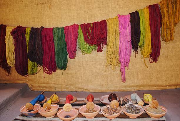 Alpaca Wool Being Dyed in Peru stock photo