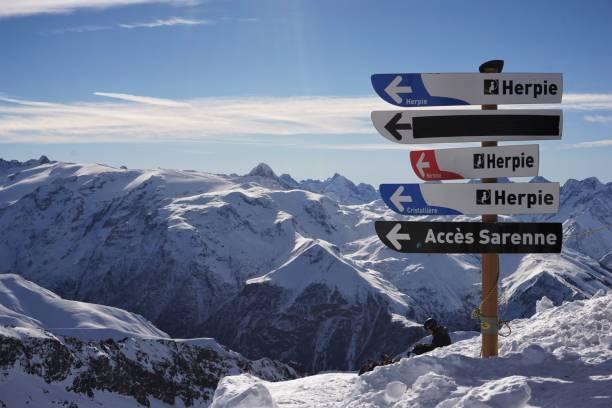 Alpe d'Huez sign post stock photo