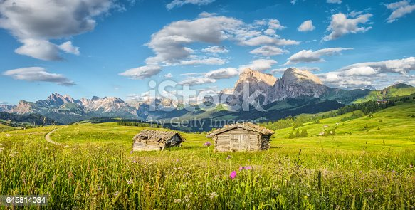 Panoramic view of idyllic alpine mountain scenery with traditional old mountain chalets and fresh green meadows in beautiful golden evening light at sunset in summer, Alpe di Siusi, South Tyrol, Italy
