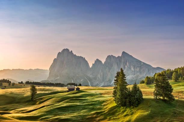 alpe di siusi sonnenaufgang mit langkofel oder langkofel berggruppe im hintergrund - seiser alm stock-fotos und bilder