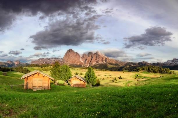 alpe di siusi mit langkofel gruppe nach sonnenuntergang, südtirol, italien - seiser alm stock-fotos und bilder