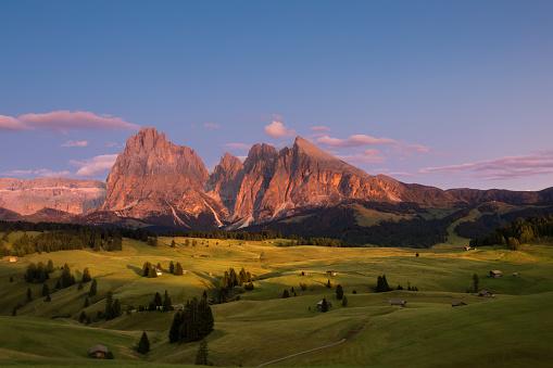 Alpe di Siusi with Langkofel Group at sunset, South Tyrol, Italy