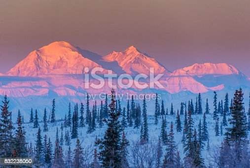 Mt. McKinley (aka Denali) on a clear morning with alpen glow