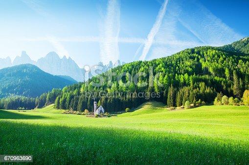 Alpen Landscape - Green field, Village Val di Funes Villnöss and Mountains