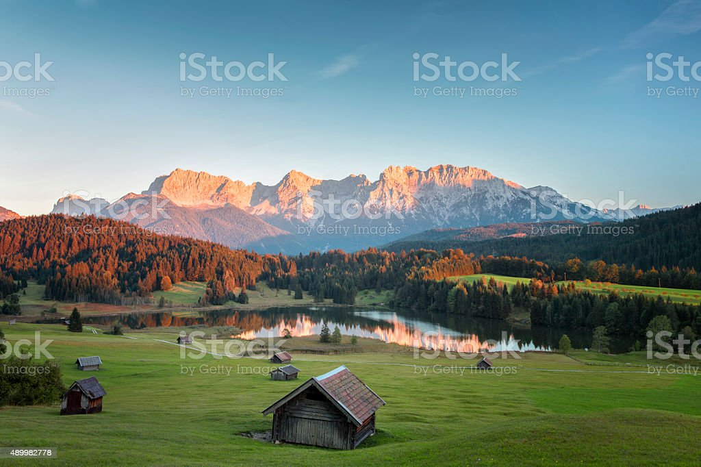 Alpenglow at Geroldssee in bavarian mountains stock photo