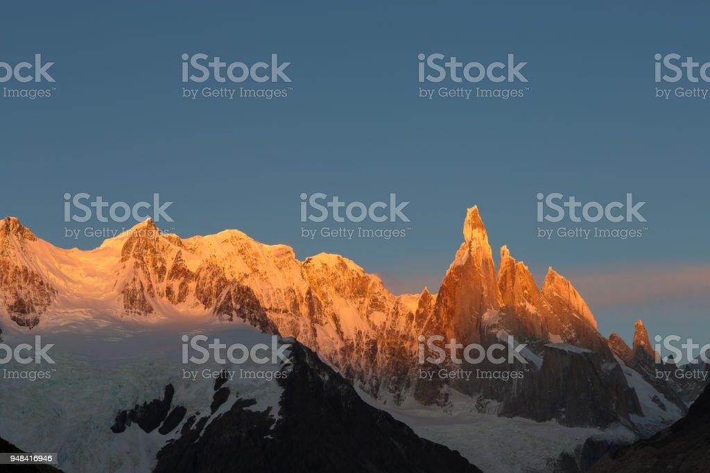 Alpenglow Cerro Torre stock photo