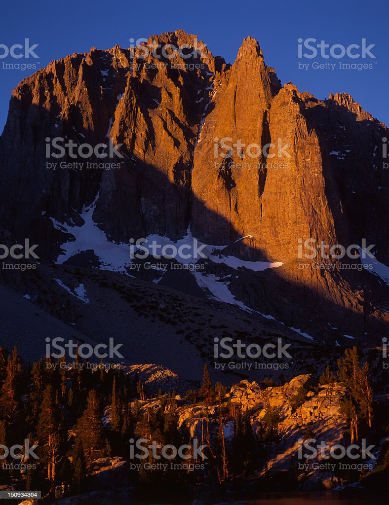 Alpenglow on Temple Crag, Eastern Sierra Nevada royalty-free stock photo