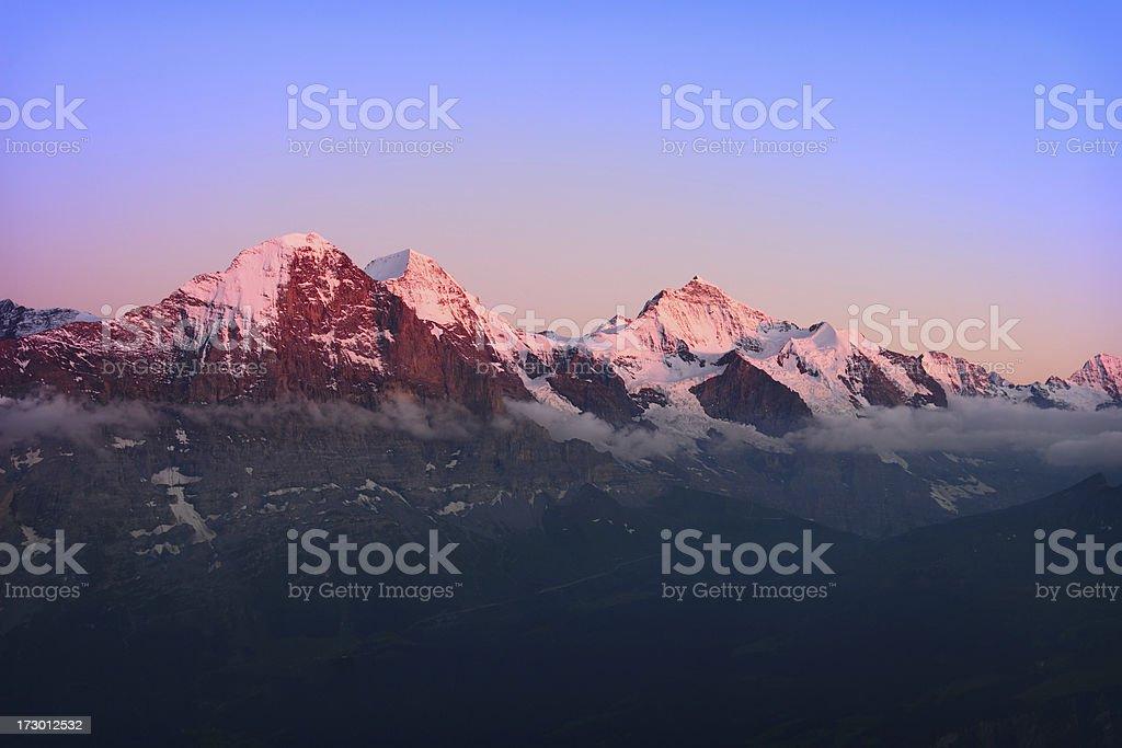 Alpengluehen Eiger stock photo