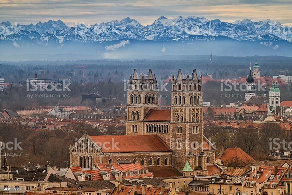 Alpenpanorama von München stock photo
