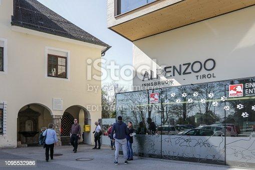 Innsbruck, Austria, April 8, 2018 - Entrance portal of the Alpine Zoo in Innsbruck.