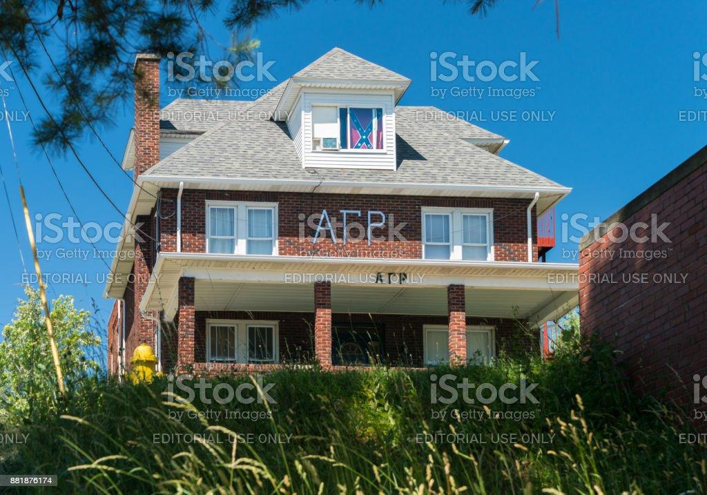 Alpha Gamma Rho Greek Housing at West Virginia University stock photo